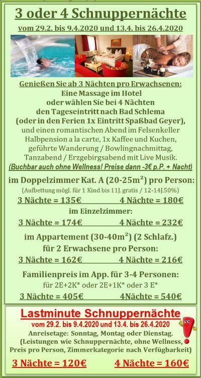Angebote März und April mit Wellness in Adners Gasthof in Breitenbrunn im Erzgebirge