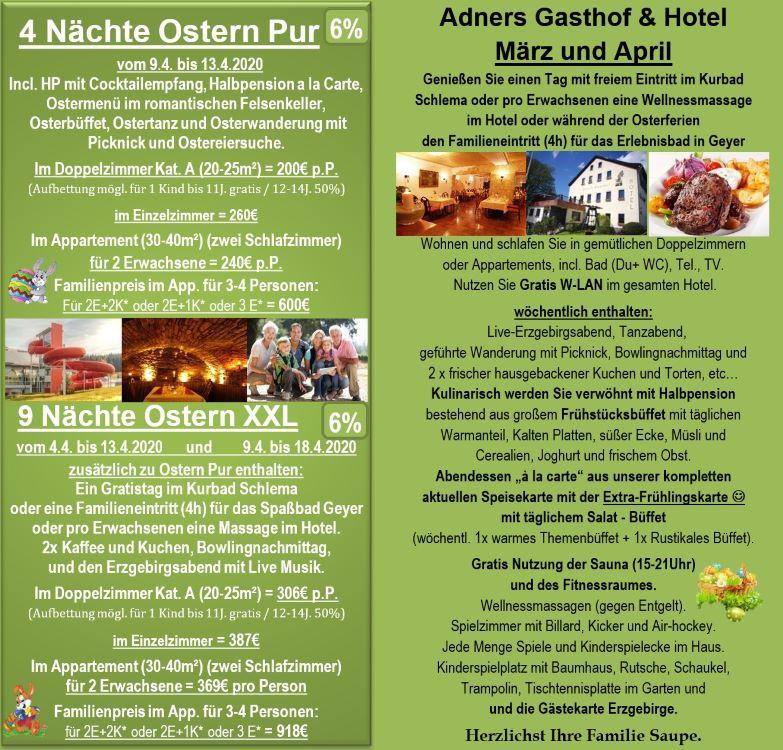 Angebote über Ostern mit Wellness in Adners Gasthof in Breitenbrunn im Erzgebirge